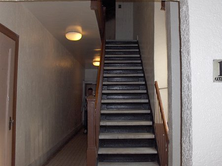 Stairway leading to the fire apartment.