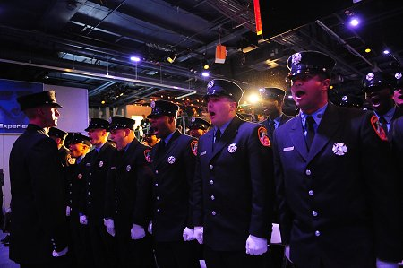 The 286 probationary firefighters give the Count on Deck during their graduation ceremony on Dec. 15.