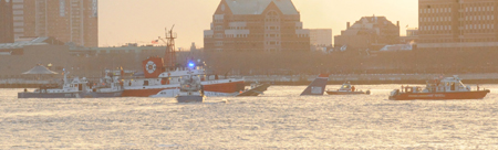 Members of Marine 1, Marine 6, Marine 9 and the Fast Boat responded to the scene of a plane crash on the Hudson River on Jan. 15.