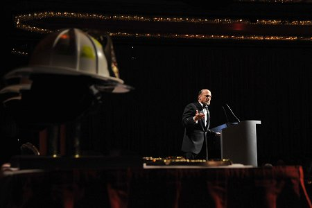 The evening's emcee, CNBC's Jim Cramer, addresses the crowd.