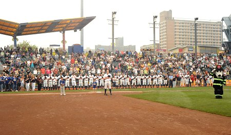 Children of FDNY members joined Cyclones players on the field for the National Anthem.