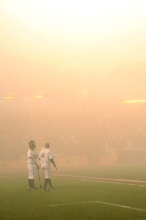 The game was called due to fog after the fifth inning.