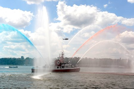 The John D. McKean of Marine Company 1 wows the crowd with a water display during FDNY Appreciation Weekend at the USS Intrepid.