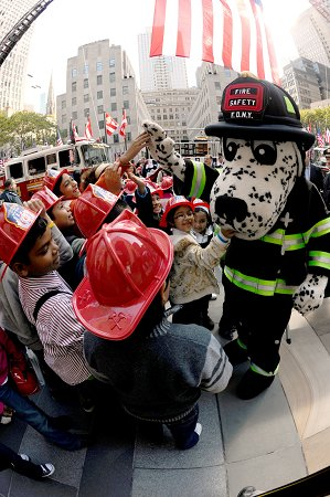 Children from 30 schools throughout the five boroughs learned about fire safety during the kick off to Fire Prevention Week in Rockefeller Center on Oct. 5.
