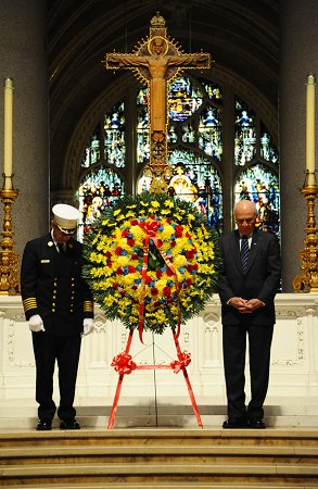 Fire Commissioner Nicholas Scoppetta and Chief of Department Salvatore Cassano lay three wreaths -- for members of the FDNY's Fire Service, members of the Emergency Medical Service and for the Department as a whole.