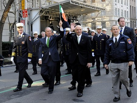 (L to R) Chief of Department Edward Kilduff, Mayor Michael Bloomberg, Fire Commissioner Salvatore Cassano and Deputy Commissioner of Legal Affairs Don Shacknai lead the FDNY contingent of the St. Patrick's Day Parade.