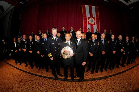 The FDNY's 42-member Urban Search and Rescue (USAR) team, part of NY Task Force 1, was honored at the gala event. The team's leader, Chief Joe Downey, stands with Fire Commissioner Salvatore Cassano and Chief of Department Edward Kilduff to receive the award. The other team members -- including FDNY physicians, firefighters and EMS members -- are lined up behind.