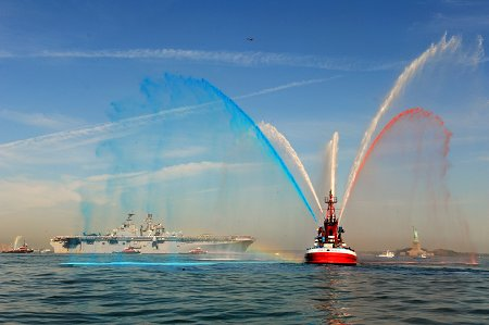 FDNY fireboats welcome the U.S.S. Iwo Jima to New York City for Fleet Week.