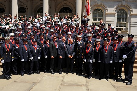 The 2010 Medal Day recipients with Mayor Bloomberg, Fire Commissioner Salvatore Cassano and Chief of Department Edward Kilduff.