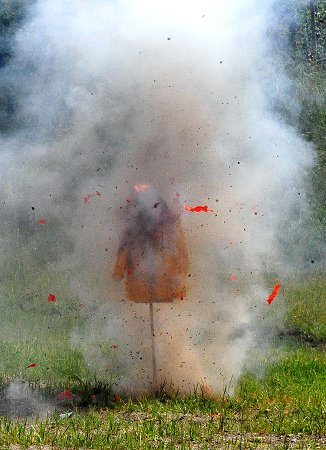 The dangers of illegal fireworks were demonstrated by exploding them near mannequins.