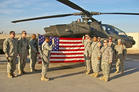 After the flag was used for multiple missions in Iraq, it was returned to the firehouse on July 10.