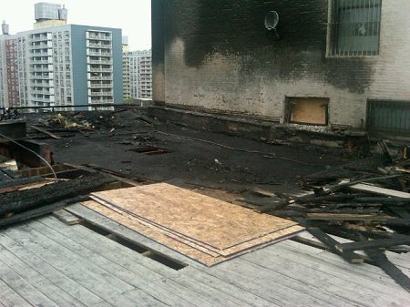The roof of 628 Broadway after the two-alarm fire.