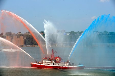 The FDNY celebrated the 9th annual Blessing of the Marine Fleet at the Intrepid Museum on July 17.