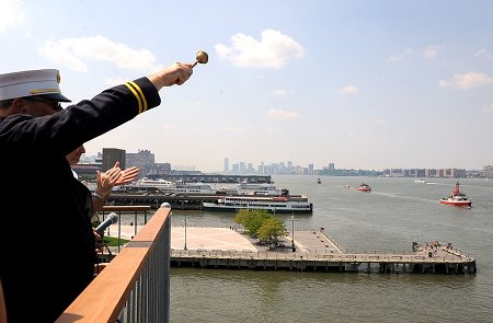 FDNY Chaplain Monsignor John Delendick blesses the six boats in the Marine Fleet.