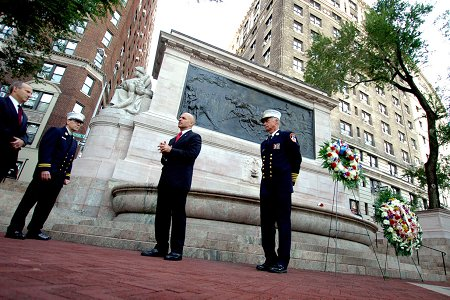 (L to R) First Deputy Commissioner Don Shacknai, FDNY Chaplain Stephen Harding, Fire Commissioner Salvatore Cassano and Chief of Department Edward Kilduff at the Firefighter�s Memorial in Upper Manhattan.