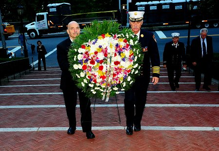 Fire Commissioner Salvatore Cassano and Chief of Department Edward Kilduff lay a wreath at the Firefighter�s Memorial in honor of the 343 FDNY members who lost their lives on Sept. 11, 2001.