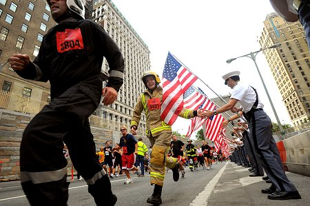 Firefighters from around the world run the annual race in full gear, in memory of Firefighter Stephen Siller.