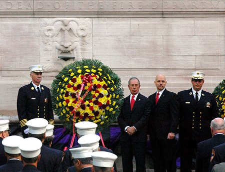 Mayor Michael Bloomberg, Fire Commissioner Salvatore Cassano, Chief of Department Edward Kilduff and Chief of EMS John Peruggia place three wreaths at the Firefighter's Monument. The wreaths are for members of the FDNY's Fire Service, members of the Emergency Medical Service and for the Department as a whole.