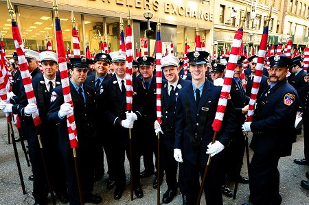 Members prepare for the start of the parade in Midtown Manhattan.