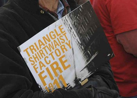 Hundreds gathered at Washington Street in Manhattan to remember the 146 victims of the Triangle Shirtwaist Factory fire.