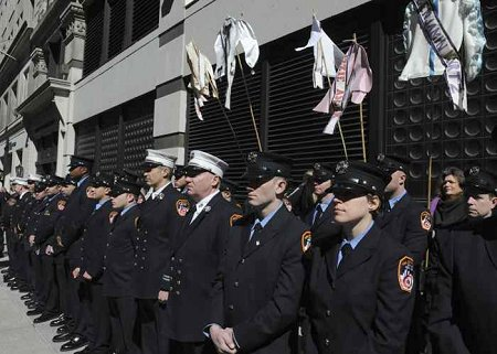 Firefighters representing every fire company that responded to the Triangle Shirtwaist fire.