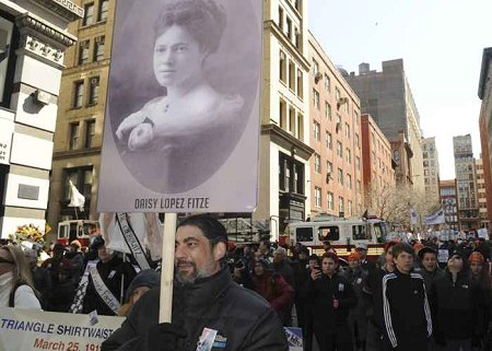 Hundreds gathered to remember the 146 victims of the Triangle Shirtwaist Factory fire.