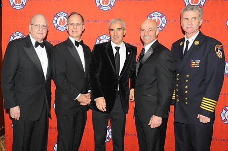 (L to R) Chairman of the FDNY Foundation Steve Ruzow, President and CEO of JetBlue David Barger, Chairman and CEO of Jarden Corporation Martin E. Franklin, Fire Commissioner Salvatore Cassano and Chief of Department Edward Kilduff.