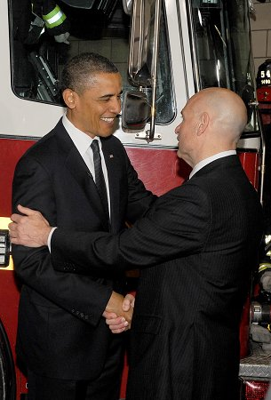 President Obama and Fire Commissioner Salvatore Cassano