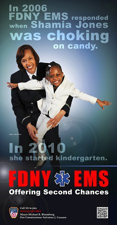 Lt. Kim Weaver and Shamia Jones in one of the two EMS Week 2011 posters.