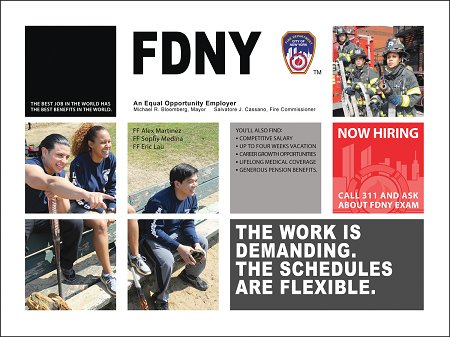 One of the ads featuring Firefighters Erick Lau, Alex Martinez and Sophy Medina.