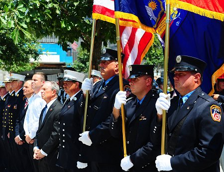 Among the many family members and friends attending the ceremony were Mayor Michael Bloomberg, Fire Commissioner Salvatore Cassano and Chief of Department Edward Kilduff.