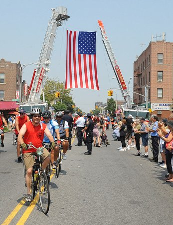 FDNY members joined the wounded warriors in lower Manhattan. The ride ended at 18th Avenue in Brooklyn.