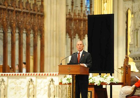Mayor Michael Bloomberg speaks at the FDNY�s World Trade Center 10th Anniversary Memorial Service.