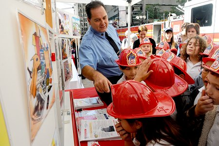 Members of the FDNY's Fire Safety Education Unit taught children and other visitors about how to keep their homes fire safe.