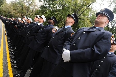 Thousands of FDNY members lined up along Riverside Drive for FDNY Memorial Day.