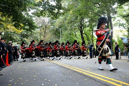 The Emerald Society Pipes and Drums Band.