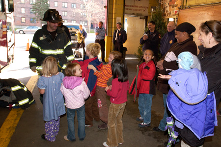 Elementary school visits their local firehouse to meet the firefighters and learn about fire safety.