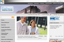 Elmhurst Hospital Center website home page