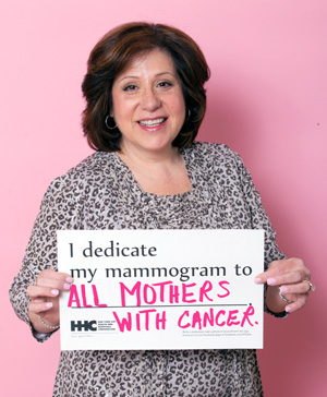 For breast cancer awareness, Dr. Susan Sanelli-Russo dedicates her mammogram to all mothers with cancer.