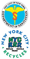dsny seal and nyc recycles logo