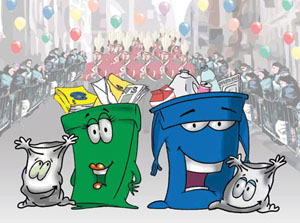 illlustration recycling bin and bag characters at street event