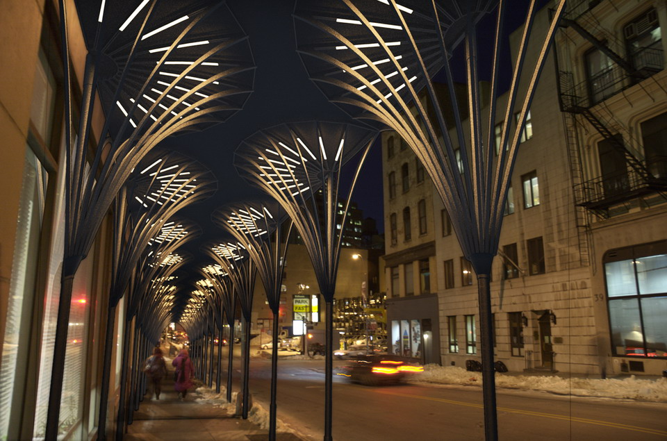 Courtesy of urbanSHED International Design Competition. Urban Umbrella design by Young Hwan Choi and Andres Cortes and Sarrah Khan of Agencie Group.