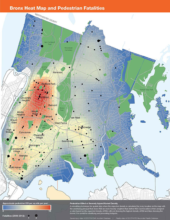 Bronx Safety Map NYC DOT Press Releases   NYC DOT and NYPD Release Vision Zero  Bronx Safety Map